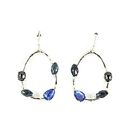 Ippolita Sterling Silver Rock Candy Gelato Semi Precious Multi Stone Oval Drop Hoop Earrings