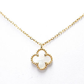 Van Cleef & Arpels 18K Yellow Gold Sweet Alhambra MOP Necklace