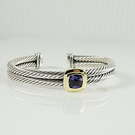 David Yurman Sterling Silver 18K Yellow Gold 2-Row Iolite Noblesse Bracelet