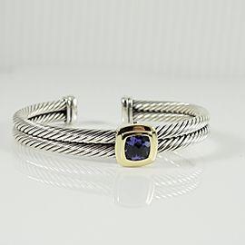 David Yurman Sterling Silver 18K Yellow Gold 2-Row Iolite Noblesse Bracelet