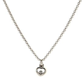 Chopard Happy Diamond Heart Pendant Necklace 18K White Gold with Floating Diamond