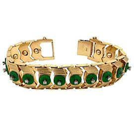 14 Karat Yellow Gold Jadeite with 1 Carat Round Brilliant Cut Diamond Bracelet