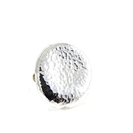 Gurhan Sterling Silver 24K Yellow Gold Large Hammered Flat Oval Pebble Ring