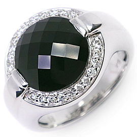 18K white gold/onyx/diamond Ring NST-1098