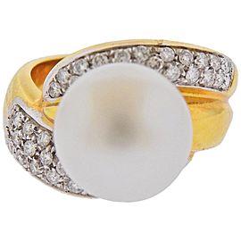 Leo Pizzo South Sea Pearl Diamond Gold Ring
