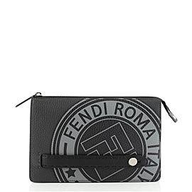 Fendi FF Logo Stamp Clutch Printed Leather Small