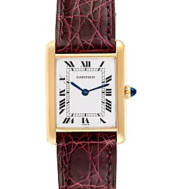 Cartier Tank Classic Paris 18k Yellow Gold Burgundy Strap Ladies Watch