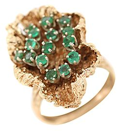 14k Yellow Gold Green Stone Flower Cocktail Ring