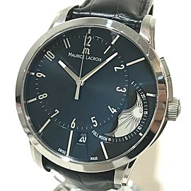 MAURICE LACROIX PT6318 Stainless Steel/Leather belt Moon Phase Pontos Off Center Wrist watch