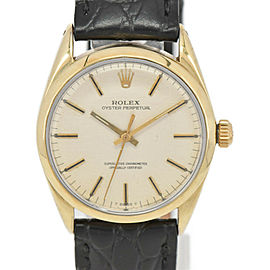 ROLEX Oyster perpetual 1025 Cal.1570 K18/SS/Leather Automatic Mens Watch
