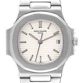 Patek Philippe Nautilus White Dial Automatic Steel Mens Watch 3800