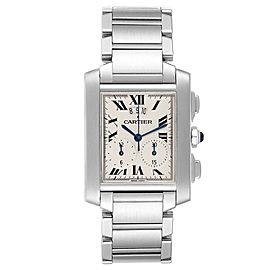 Cartier Tank Francaise Chrongraph Steel Mens Watch W51024Q3 Box