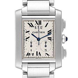 Cartier Tank Francaise Chrongraph Steel Mens Watch W51024Q3 Box