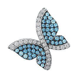 Swarovski 18K White Gold Blue Topaz and Diamond Butterfly Pendant Necklace