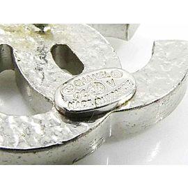 CHANEL Silver-tone Rhinestones Coco Mark CC Logo Pierced Earrings CHAT-848