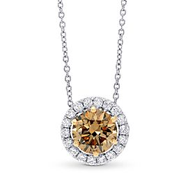 Leibish 18K White and Rose Gold Fancy Dark Yellow Brown Diamond Halo Pendant Necklace