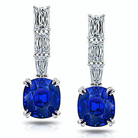 Platinum 11.94ctw. Sapphire 2.45ctw. Diamond Drop Earrings