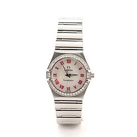 Omega Constellation Quartz Watch Stainless Steel with Diamond Bezel and Mother-of-Pearl 25