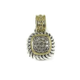 David Yurman 18K Yellow Gold, Sterling Silver Diamond Small Square Enhancer