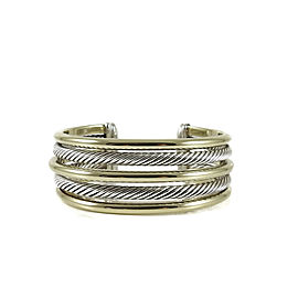 David Yurman Bamboo Cuff 18K Yellow Gold 925 Sterling Silver Bracelet