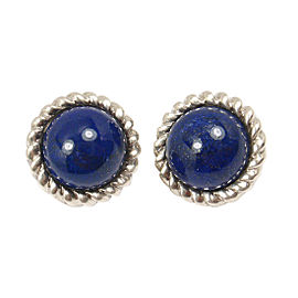 Vintage Tiffany & Co. Sterling Silver Large Lapis Lazuli Clip On Earrings