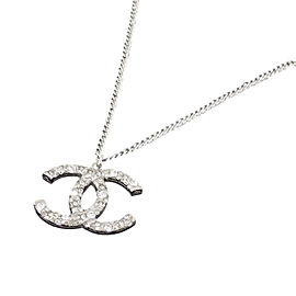 Chanel Silver Tone Hardware And Rhinestone CC Logo Necklace