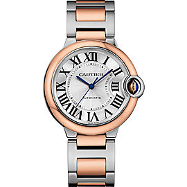 Cartier Ballon Bleu W2BB0003 Stainless Steel & 18K Pink Gold with Silver Dial 36mm Womens Watch