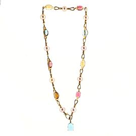Bvlgari Allegra Station Chain Link Necklace 18K Yellow Gold with Gemstones, Pearls and Diamonds
