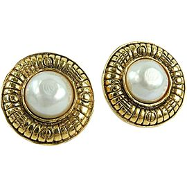 CHANEL Gold Plated/Fake pearl COCO Mark Earring