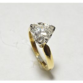 18K Yellow Gold 2.0ct Diamond Heart Solitaire Ring