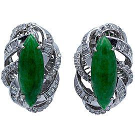 1.80 Carat Marque Shaped Jade Diamond Clip-On Earrings