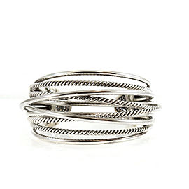 David Yurman Sterling Silver Wide Crossover Cuff Bangle Bracelet