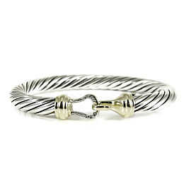David Yurman Buckle Bracelet Sterling Silver 14K Yellow Gold Diamond