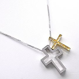 D0.20 cross Necklace K18 white gold/K18 yellow gold/diamond Women