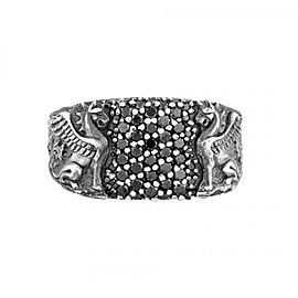 David Yurman Sterling Silver 1.15ct Black Diamond Griffin Signet Dragon Ring