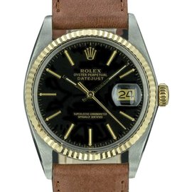 Rolex Datejust 16013 Stainless Steel and 18K Yellow Gold with Black Dial Vintage 36mm Mens Watch