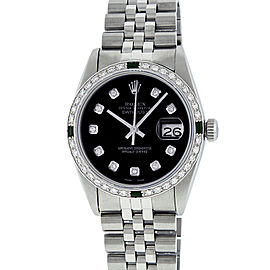 Rolex Datejust 16014 Stainless Steel & 18K White Gold wDiamond & Emerald Automatic 36mm Mens Watch