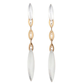 Vhernier 18K Yellow Gold Rock Crystal Mother of Pearl Earrings