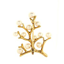 Mikimoto Tree Brooch 18K Yellow Gold and Cultured Pearls Small