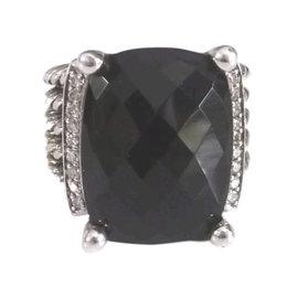 David Yurman Sterling Silver with Onyx and Diamond Wheaton Ring Size 7
