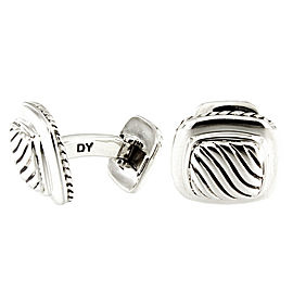 David Yurman Classic Cable Sterling Silver Square Cushion Rope Cufflinks
