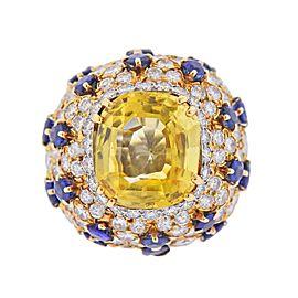 David Webb Gemstone Diamond Sapphire Gold Platinum Ring
