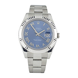 Rolex Stainless Steel Men's Datejust II Watch 116334 41 mm Blue Roman Dial