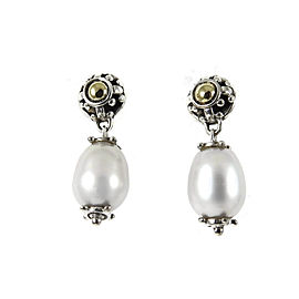 John Hardy Sterling Silver 18K Yellow Gold Jaisalmer Gray Pearl Drop Earrings