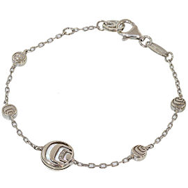 Damiani 925 Sterling Silver Diamonds & Shell Design Chain Bracelet