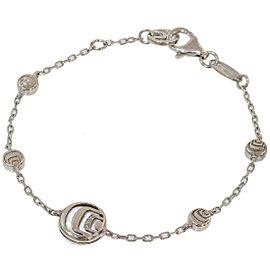Damiani 925 Sterling Silver Diamonds & Shell Design Chain Bracelet