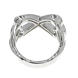 TIFFANY & CO 925 silver Double Rubbing Heart Ring