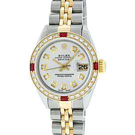 Rolex Datejust Stainless Steel & 18K Yellow Gold Diamond & Ruby 26mm Watch