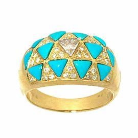 18K Yellow gold Turquoise Diamond Ring