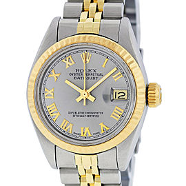 Rolex Datejust SS and Yellow Gold Slate Gray Roman Dial 26mm Women's Watch